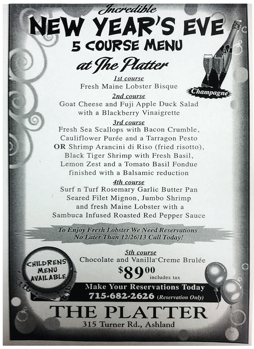 Platter New Years Eve 2014 Menu
